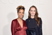 Designer Carly Cushnie (L) and Andi Matichak poses backstage for Cushnie fashion show during New York Fashion Week: The Shows at Gallery I at Spring Studios on February 8, 2019 in New York City.