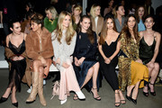 (3rd L - R) Kate Bock, Andi Matichak, Debby Ryan, Angela Sarafyan and Rainey Qualley attend the Cushnie front row during New York Fashion Week: The Shows at Gallery I at Spring Studios on February 8, 2019 in New York City.
