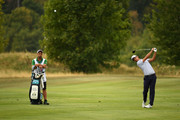 Matteo Manassero of Italy plays his second shot on the 12th hole during Day One of D+D REAL Czech Masters at Albatross Golf Resort on August 23, 2018 in Prague, Czech Republic.