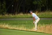 Matteo Manassero of Italy plays his second shot on the 3rd hole during Day Two of D+D REAL Czech Masters at Albatross Golf Resort on August 24, 2018 in Prague, Czech Republic.