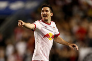 Sacha Kljestan #16 of New York Red Bulls directs his teammates in the second half against the D.C. United at Red Bull Arena on April 15, 2017 in Harrison, New Jersey.