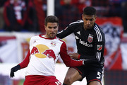 Sal Zizzo #15 of New York Red Bulls and Sean Franklin #5 of D.C. United fight for the ball during their match at Red Bull Arena on March 22, 2015 in Harrison, New Jersey.