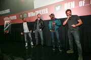 "(L-R)  O'Shea Jackson Jr, Pablo Schreiber, Curtis ""50 Cent"" Jackson and Gerard Butler attend The Den of Theives Special screening at Regal South Beach on January 10, 2018 in Miami, Florida."