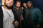 "(L-R)  O'Shea Jackson Jr, Gerard Butler  Pablo Schreiber and Curtis ""50 Cent"" Jackson attend The Den of Theives Special screening at Regal South Beach on January 10, 2018 in Miami, Florida."
