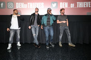 "(L-R) OShea Jackson Jr, Pablo Schreiber, Curtis ""50 Cent"" Jackson and Gerard Butler at The Den of Thieves special screening at Regal South Beach on January 10, 2018 in Miami, Florida."
