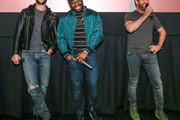 "(L-R) Pablo Schreiber, Curtis ""50 Cent"" Jackson and Gerard Butler at The Den of Thieves special screening at Regal South Beach on January 10, 2018 in Miami, Florida."