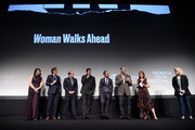 "Erika Olde, Bill Camp, Chaske Spencer, Sam Rockwell, Michael Greyeyes and Susanna White speak during an DIRECTTV Premiere Of ""Women Walks Ahead"" At 2018 Tribeca Film Festival on April 25, 2018 in New York City."
