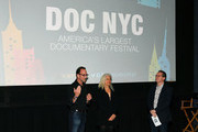 """(L-R) Producer David Heilbroner, director Kate Davis and Artistic director of documentary festival DOC NYC Thom Powers speak on stage at DOC NYC Premiere of the HBO documentary film """"Traffic Stop"""" at IFC Center on November 14, 2017 in New York City."""