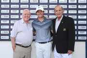 (L-R) George Horan (President of Dubai Duty Free), Rory McIlroy of Northern Ireland and Colm McLoughlin (Executive Vice Chairman of Dubai Duty Free) pose for a photograph as they launch ticket sales for the 2016 Dubai Duty Free Irish Open prior to the start of the DP World Tour Championship on the Earth Course at Jumeirah Golf Estates on November 17, 2015 in Dubai, United Arab Emirates.