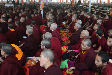 Dalai Lama The Dalai Lama Attends a Special Religious Teaching Session at the Kalachakra Event in Bodhgaya