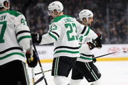 Esa Lindell #23 congratulates Jamie Benn #14 of the Dallas Stars after he scored a goal during the first period of a game against the Los Angeles Kings  at Staples Center on April 7, 2018 in Los Angeles, California.