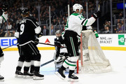 Jamie Benn #14 of the Dallas Stars celebrates his goal as Adrian Kempe #9 and Jonathan Quick #32 of the Los Angeles Kings look on during the first period of a game  at Staples Center on April 7, 2018 in Los Angeles, California.