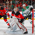 Keith Kinkaid Photos - Keith Kinkaid #1 and Pavel Zacha #37 of the New Jersey Devils defends the net during the first period against Jason Spezza #90 of the Dallas Stars on October 16, 2018 at Prudential Center in Newark, New Jersey. - Dallas Stars vs. New Jersey Devils