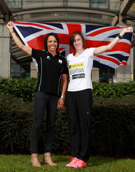 Aviva - On Camp with Kelly Media Day [flag,plant,kelly holmes,kelly media day,laura weightman,aviva - on camp,england,aviva,on camp,photocall,aviva london grand prix,press conference]