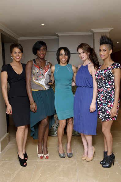 Screening of Fast Girls Hosted by Dame Kelly Holmes [dame kelly holmes,fast girls,guests,dominique tipper,lily james,lashana lynch,c,l-r,clothing,dress,event,fashion,lady,fashion design,cocktail dress,leg,formal wear,screening,screening]
