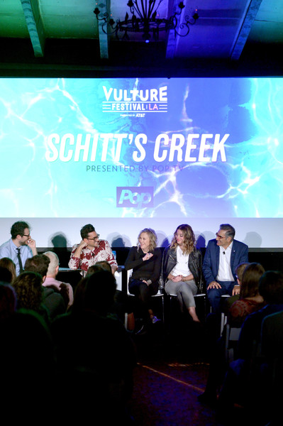 Vulture Festival LA Presented by AT&T - Day 2 [event,font,stage,performance,crowd,convention,company,brand,jesse david fox,actors,eugene levy,dan levy,annie murphy,vulture festival la,l-r,hollywood roosevelt hotel,at t,panel]