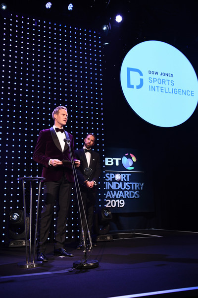 BT Sport Industry Awards 2019 [product,event,public speaking,performance,talent show,design,convention,speech,orator,stage,gareth southgate,dan walker,celebrities,bt sport industry awards,the integrity and impact award,england,world,l,dow jones intelligence,showcase]