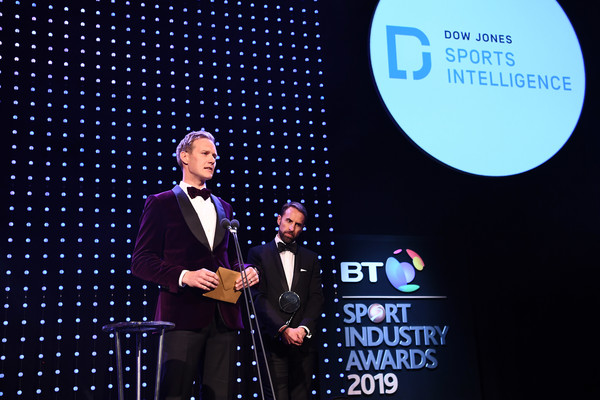 BT Sport Industry Awards 2019 [public speaking,orator,design,speech,event,talent show,brand,spokesperson,gareth southgate,dan walker,celebrities,bt sport industry awards,the integrity and impact award,england,world,l,dow jones intelligence,showcase]