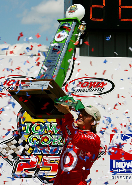 Dan Wheldon Dan Wheldon, driver of the #10 Target Chip Ganassi Racing Dallara Honda celebrates winning the IRL Indycar Series Iowa Corn Indy 250 on June 22, 2008 at the Iowa Speedway in Newton, Iowa.