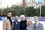 Presenter Phillip Schofield (C) poses with judges Ashley Banjo (L), Jason Gardiner (2ndL), Karen Barber (2ndR) and Christopher Dean (R) during the Dancing On Ice 2018 photocall held at Natural History Museum Ice Rink on December 19, 2017 in London, England.