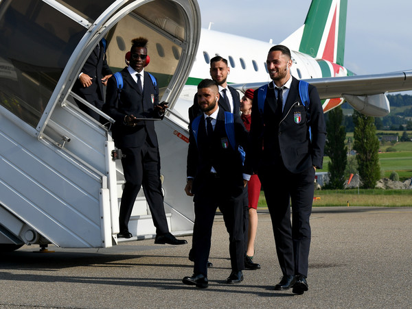 Italy Travels To Switzerland [transport,vehicle,air travel,mode of transport,aerospace engineering,official,businessperson,uniform,employment,tourism,italy travel,l-r,switzerland,italy,florence,san gallo,mario balotelli,danilo dambrosio,gianluigi donnarumma,lorenzo insigne]