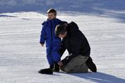 Prince Vincent of Denmark and Prince Frederik of Denmark attend the Danish Royal family annual skiing photocall whilst on holiday on February 8, 2015 in Verbier, Switzerland.