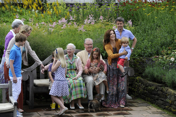 (4thL-R)  Prince Christian, Queen Margrethe II, Prince Henrik,, Princess Isabella, Prince Vincent Frederik Minik Alexander, Crown Princess Mary and Prince Frederik pose during a photocall for the Royal Danish family at their summer residence of Grasten Slot on July 20, 2012 in Grasten, Denmark.