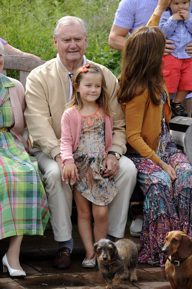 Queen Margrethe II., Princess Isabella, Prince Consort Henrik of Denmark, Crown Princess Mary Of Denmark and Prince Vincent Frederik Minik Alexander pose during a photocall for the Royal Danish family at their summer residence of Grasten Slot on July 20, 2012 in Grasten, Denmark.