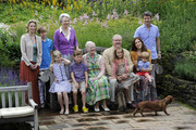 (4thL-R)  Prince Christian, Queen Margrethe II, Prince Henrik,, Princess Isabella, Prince Vincent Frederik Minik Alexander, Prince Frederik and Crown Princess Mary pose during a photocall for the Royal Danish family at their summer residence of Grasten Slot on July 20, 2012 in Grasten, Denmark.