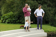 Prince Consort Henrik of Denmark, Crown Prince Frederik, Prince Christian and princess Josephine Sophia Ivalo Mathilda pose during a photocall at Grasten Castle on August 1, 2011 in Grasten, Denmark.