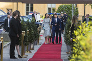 Prince Mary of Denmark, Princess Victoria of Sweden, Prince Frederik of Denmark, and Prince Daniel of Sweden attend an official dinner at Eric Ericssonhallen on May 29, 2017 in Stockholm, Sweden.