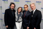 (L-R) Director Tim Burton, actress Catherine O'Hara composer Danny Elfman and conductor John Mauceri attend Danny Elfman's Music from the films of Tim Burton at Nokia Theatre L.A. Live on October 31, 2013 in Los Angeles, California.