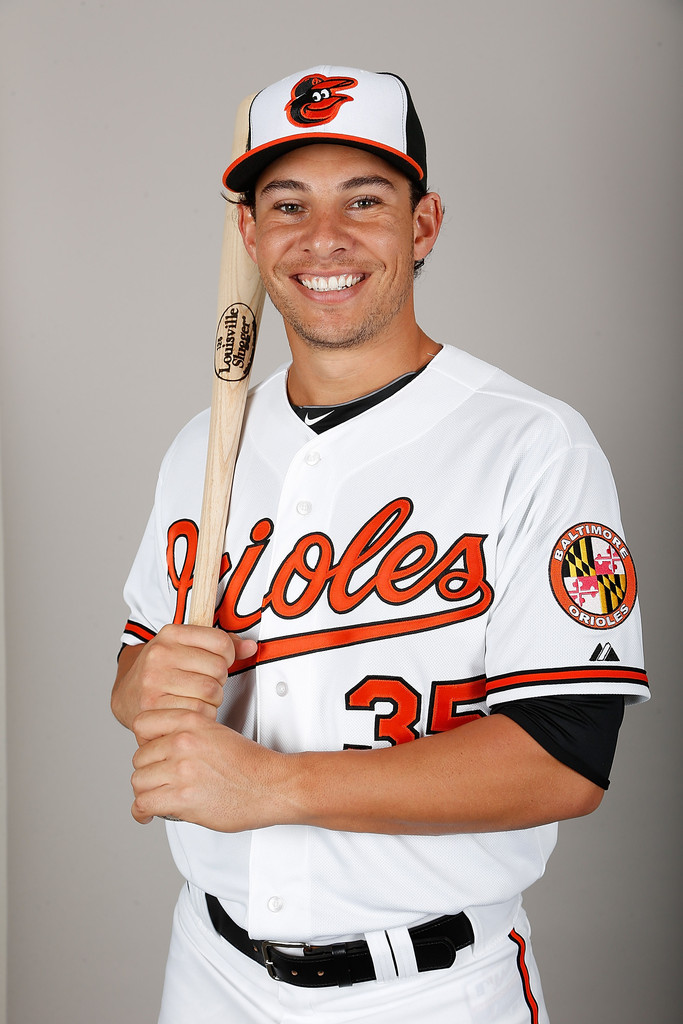 Infielder Danny Valencia #35 of the Baltimore Orioles poses for a photo during photo day at Ed Smith Stadium on February 22, 2013 in Sarasota, Florida. He was recalled from Triple-A Norfolk this morning. He will bat in the DH spot today against the Tampa Bay Rays.