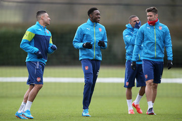 Danny Welbeck Olivier Giroud Arsenal Training Session and Press Conference
