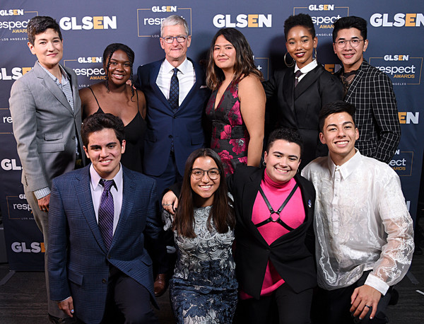 GLSEN Respect Awards Los Angeles - Inside [event,premiere,fun,suit,white-collar worker,performance,team,movie,eliza byard,jessica chiriboga,matthew yekell,el martinez,soli guzman,tim cook,glsen respect awards,l-r,los angeles,glsen]