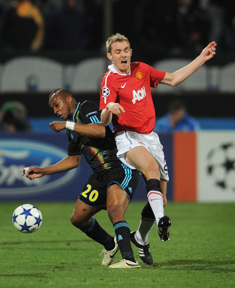 Darren Fletcher Darren Fletcher of Manchester United challenges Andre Ayew of Marseille during the UEFA Champions League round of 16 first leg match between Marseille and Manchester United at the Stade Velodrome on February 23, 2011 in Marseille, France.