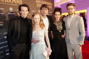 (L-R) Sabin Tambrea, Susanne Wuest, Roland Suso Richter, Ruby O. Fee and Steve Windolf attend the Premiere of  'Das Geheimnis der Hebamme' at Gloria Palast on March 16, 2016 in Munich, Germany.