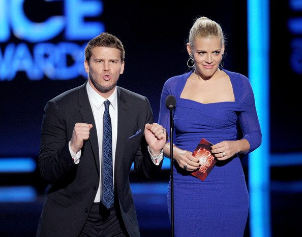 2012 People's Choice Awards - Show [event,performance,award ceremony,gesture,award,white-collar worker,television presenter,employment,presenters,david boreanaz,busy philipps,peoples choice awards,los angeles,california,nokia theatre l.a. live,l,show]