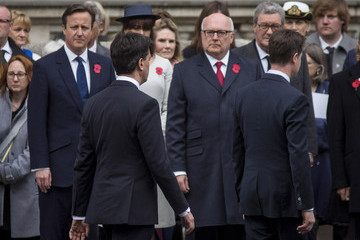 David Cameron Nick Clegg British Royal Family And Government Mark The Gallipoli Centenary At The Cenotaph