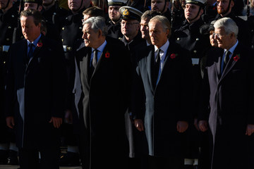 David Cameron Wreaths Are Laid At The Cenotaph On Remembrance Sunday