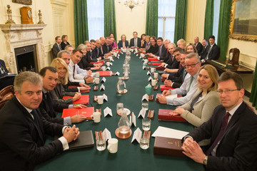 David Gauke The British Prime Minister Poses With Her Reshuffled Cabinet
