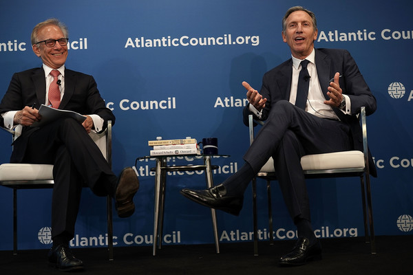 Starbucks Chairman Howard Schultz Discusses The Role Of Public Global Companies [the role of a global public company,spokesperson,event,interview,sky,businessperson,speech,white-collar worker,news conference,business,conversation,howard schultz discusses role of public global companies,executive chairman,howard schultz,david ignatius,r,discussion,starbucks,atlantic council,washington post]