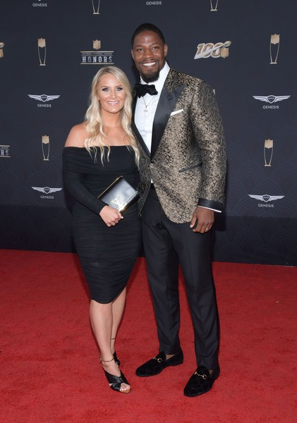 9th Annual NFL Honors - Arrivals [suit,carpet,red carpet,clothing,formal wear,tuxedo,little black dress,event,fashion,dress,david johnson,meghan brock,9th annual nfl honors,l-r,miami,florida,adrienne arsht center,nfl honors - arrivals,9th annual nfl honors,livingly media,photograph,arizona cardinals,image,photography,celebrity,stock photography,getty images]