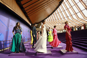 Jessica Gomes, Emma Boyd, Tom Derickx, Dilone and Victoria Lee during the Fashion Presentation at the David Jones SS19 Season Preview at the Sydney Opera House on August 08, 2019 in Sydney, Australia.
