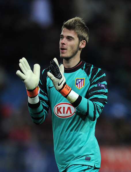 David de Gea Goalkeeper David de Gea of Atletico Madrid applauds the crowd during the Europea League match between Atletico Madrid and Aris Thessaloniki at the Vicente Calderon Stadium on December 1, 2010 in Madrid, Spain.