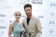 Actress Amaia Salamanca and actor Jose Lamuno receive the 'Maribel Yebenes Best Look' award during  the 22th Malaga Film Festival on March 22, 2019 in Malaga, Spain.