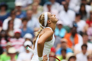 Sabine Lisicki of Germany looks on during her match against Christina McHale of USA in her Women's Singles Second Round match during day four of the Wimbledon Lawn Tennis Championships at the All England Lawn Tennis and Croquet Club on July 2, 2015 in London, England.