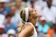 Sabine Lisicki of Germany looks dejected during her match against Christina McHale of USA in her Women's Singles Second Round match during day four of the Wimbledon Lawn Tennis Championships at the All England Lawn Tennis and Croquet Club on July 2, 2015 in London, England.