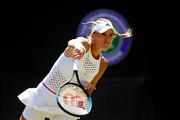 Kristina Mladenovic of France serves in her Ladies' Singles second round match against Petra Kvitova of The Czech Republic  during Day four of The Championships - Wimbledon 2019 at All England Lawn Tennis and Croquet Club on July 04, 2019 in London, England.