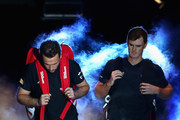 Bruno Soares of Brazil and Jamie Murray of Great Britain make thier way out onto court during the doubles match against Ivan Dodig of Croatia and Marcel Granollers of Spain on day four of the 2017 Nitto ATP World Tour Finals at O2 Arena on November 15, 2017 in London, England.